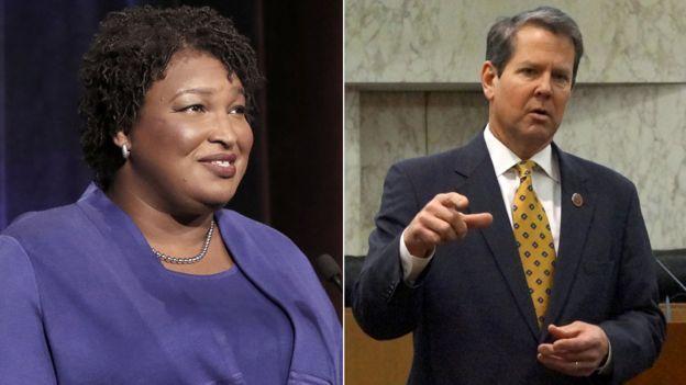 Stacey Abrams y Brian Kemp, candidatos a la gobernación en Georgia