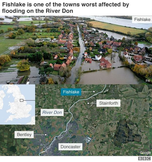 Map of towns worst affected by flooding on the River Don