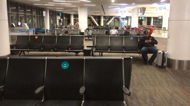 Aeropuerto en época de coronavirus en EE.UU.