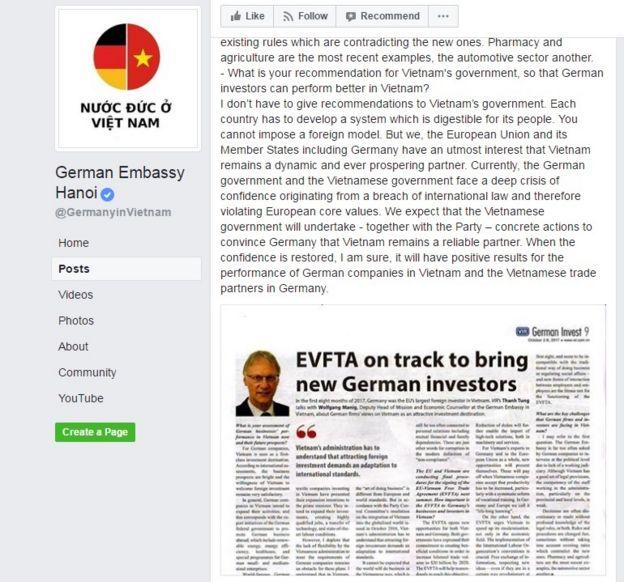 Đoạn cuối bài phỏng vấn ông Phó Đại sứ trên trang Facebook của Đại sứ quán Đức tại Việt Nam