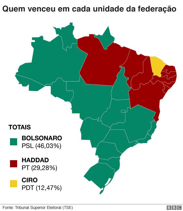 Mapa mostrando qual dos pesidenciáveis venceu em cada Estado