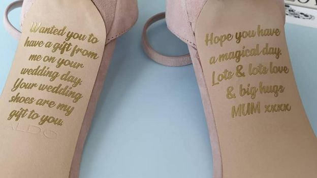 Dying mum's secret message on daughter's wedding shoes - BBC