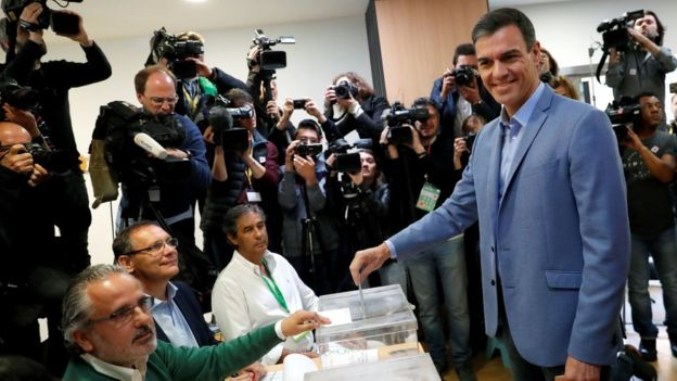 Prime Minister and Socialist Workers' Party (PSOE) candidate Pedro Sanchez casts his vote during Spain's general election