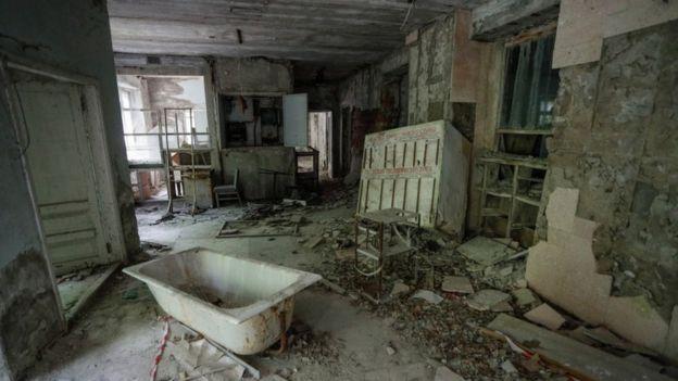 Una habitación abandonada de Prípiat.