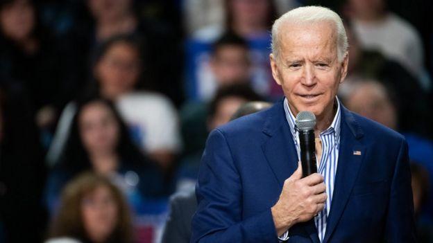 Democratic presidential candidate former Vice President Joe Biden addresses a crowd