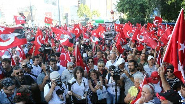 A crowd with Turkish flags