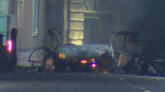 Exploded vehicle in Londonderry