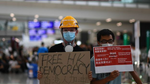 Protesters in Hong Kong Airport