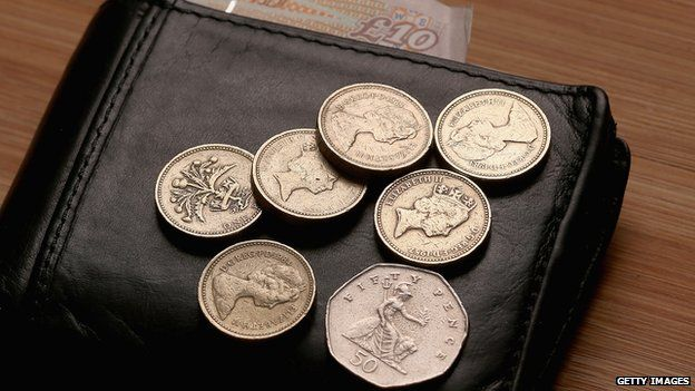 Coins and a wallet