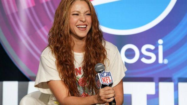 Shakira en la rueda de prensa antes del Super Bowl en 2020.