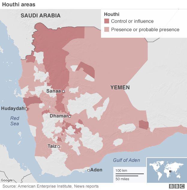Map of Yemen conflict