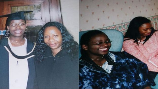 Two pictures of Bamidele and her sister Titi