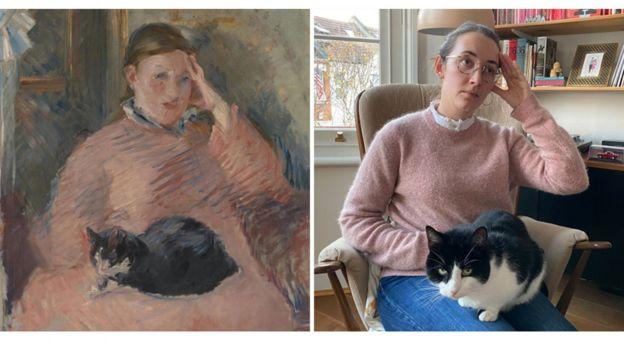 """""""Mujer con un gato"""" de Édouard Manet (1880-1882) recreada por la curadora Francesca Whitlum-Cooper."""