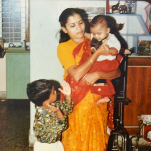 Dakshayani with her two children
