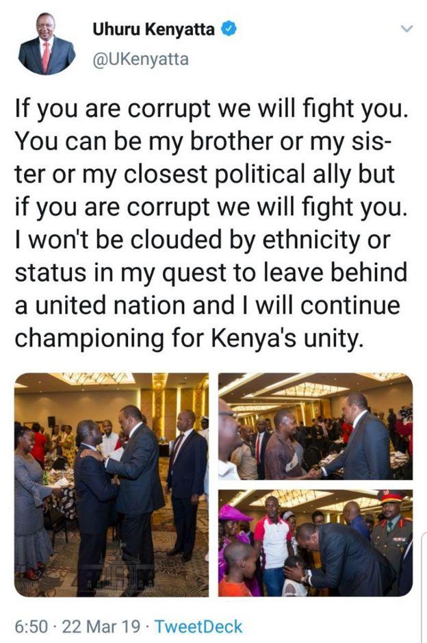 Ujumbe wa Twitter unaoangaliwa kama sababu ya kufungwa kwa akaunti za Twitter na Facebook za rais Kenyatta, kulingana na gazeti la The Star