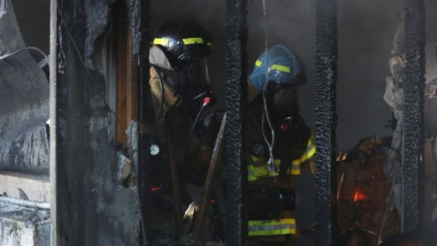 Firefighters try to put out the fire in a burning hospital in Miryang, South Korea.