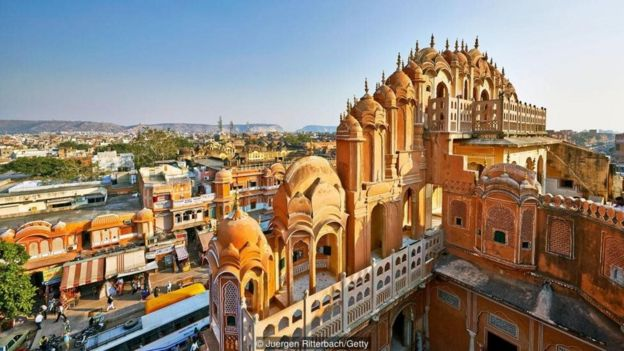 South-west of Delhi is the 'Pink City' of Jaipur, a popular travel destination