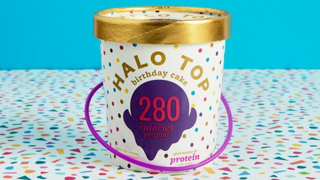 A tub of Halo Top ice cream