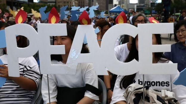 周六,首爾舉行了支持峰會的遊行。