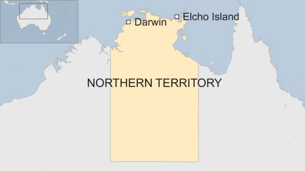 A map of Australia showing the Northern Territory, Darwin and Elcho Island