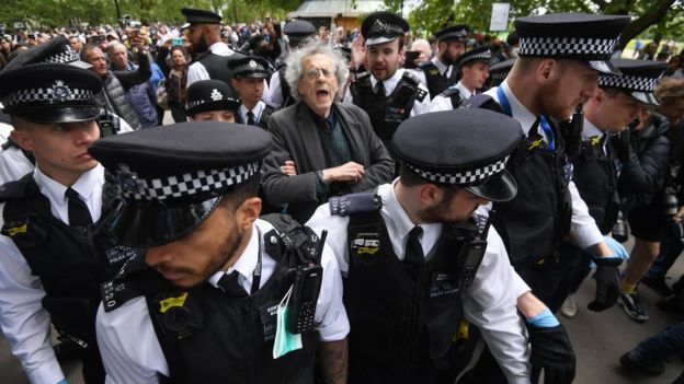 Piers Corbyn being led away by police
