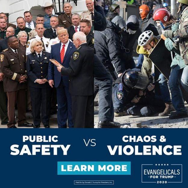 Anúncio na página de Facebook de Donald Trump