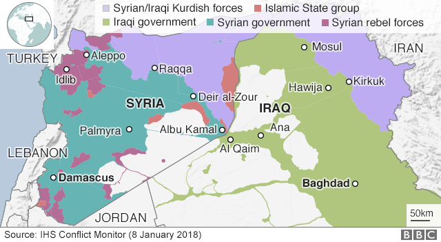 Syria war assault on rebel stronghold of idlib displaces 100000 map showing control of syria and iraq 8 january 2017 gumiabroncs Gallery