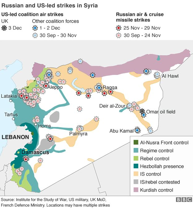Map of Russian and US-led air strikes in Syria