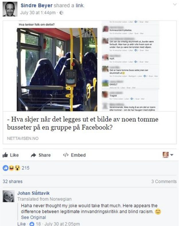 Facebook post of the empty bus seats with Johan Slattavik's reaction underneath