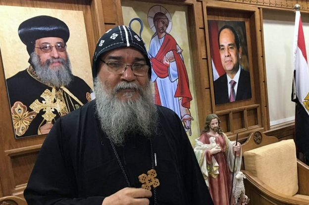 Bishop Macarius in Minya, Egypt, 12 April