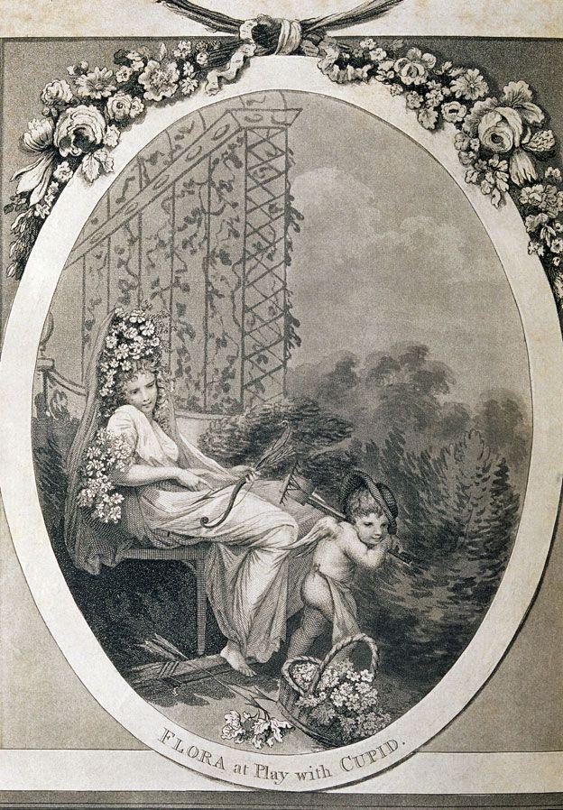 """Frontispicio de """"El jardín botánico"""" de Erasmus Darwin (1789-92) Flora, la diosa romana de las flores, la juventud y la primavera, juega con el dios romano del amor."""