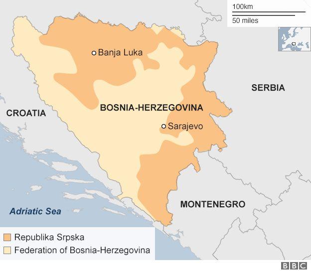 Bosnia map showing federation and Republika Srpska