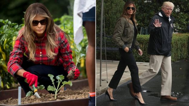 Collage photograph of Melania gardening in checked shirt and wearing heels and bomber jacket