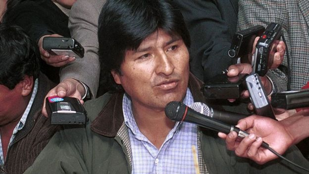 Evo Morales en su época de líder cocalero