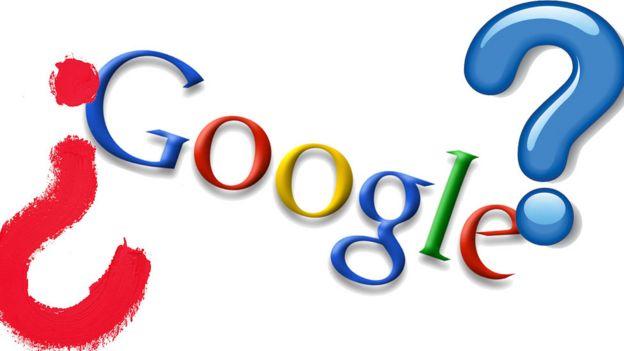 Logo de Google en 2008 y signos de interrogación