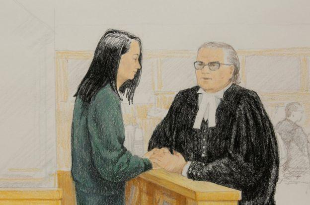 2018年12月10日,孟晚舟出席加拿大温哥华保释听证会的法庭画像。