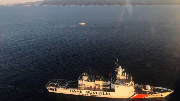 The Turkish Coast Guard, Sahil Guevenlik, search for surviving refugees on a sinking boat on Mediterranean sea in Antalya, Turkey, on 3 May 2018