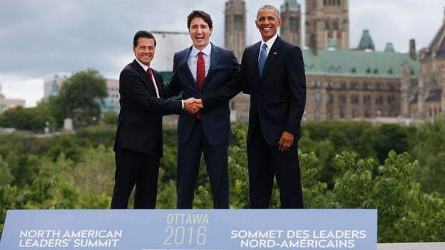Cumbre en Ottawa de los líderes del TLCAN con Enrique Peña Nito, Justin Trudeau y Barack Obama