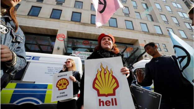 Protestors outside Shell's offices in London