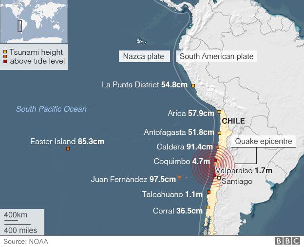 World Earthquake Map News. Map  Chile earthquake and observed tsunami heights quake triggers mass evacuation alert BBC News