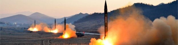 Picture released by North Korea's Korean Central News Agency on March 7, 2017 shows launch of four missiles at an undisclosed location