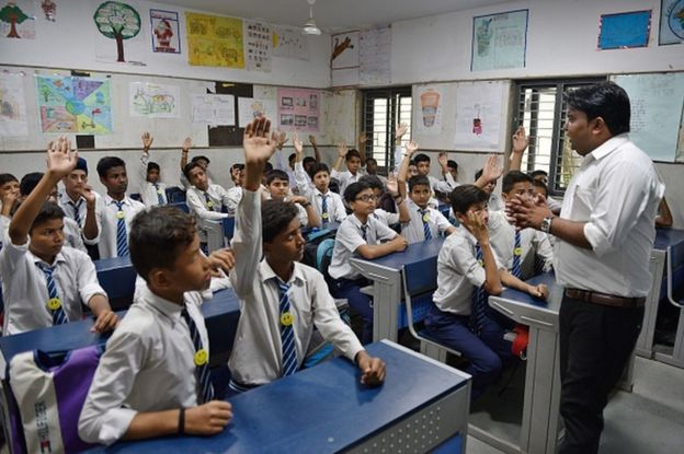Suresh Kumar take the happiness class, an initiative of Delhi Government in every government school till 8th class at Kautilya Government Sarvodaya Bal Vidyalaya, Chirag Enclave, on August 21, 2018 in New Delhi, India.