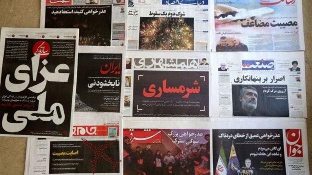 снимки передовиц иранских газет