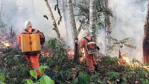 Bombeiros de Porto Velho combatem chamas em Rondônia