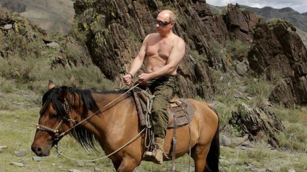 Vladimir Putin on horse, on holiday near Kyzyl in southern Siberia, 3 Aug 09