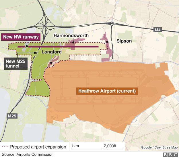 Map showing the proposed ne runway