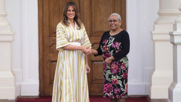 Première Dame des États-Unis Melania Trump rencontre Première Dame du Kenya Margaret Kenyatta