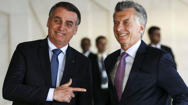 Bolsonaro com Macri no Planalto, em foto do início do ano