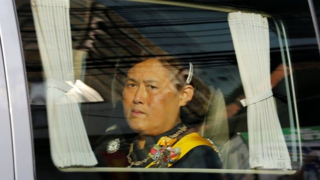 Thailand's Princess Maha Chakri Sirindhorn travels with a convoy carrying her late father