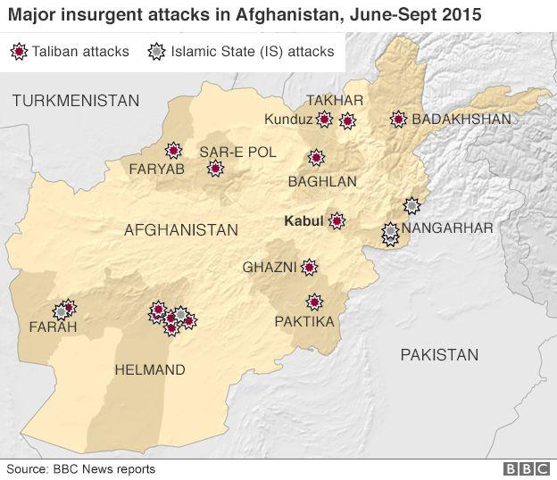 Map of major insurgent attacks in Afghanistan June-September 2015